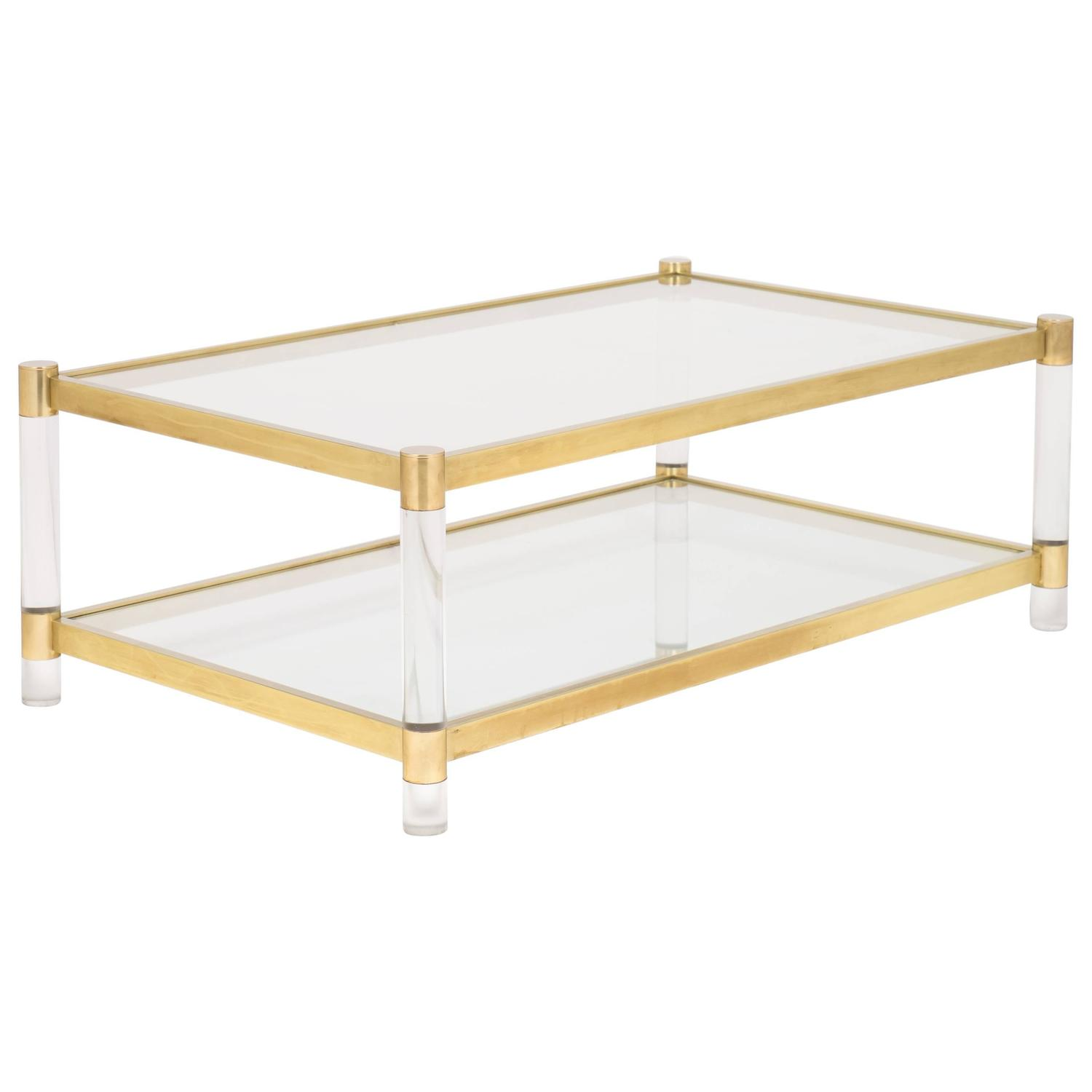 French vintage lucite and brass coffee table at 1stdibs Antique brass coffee table