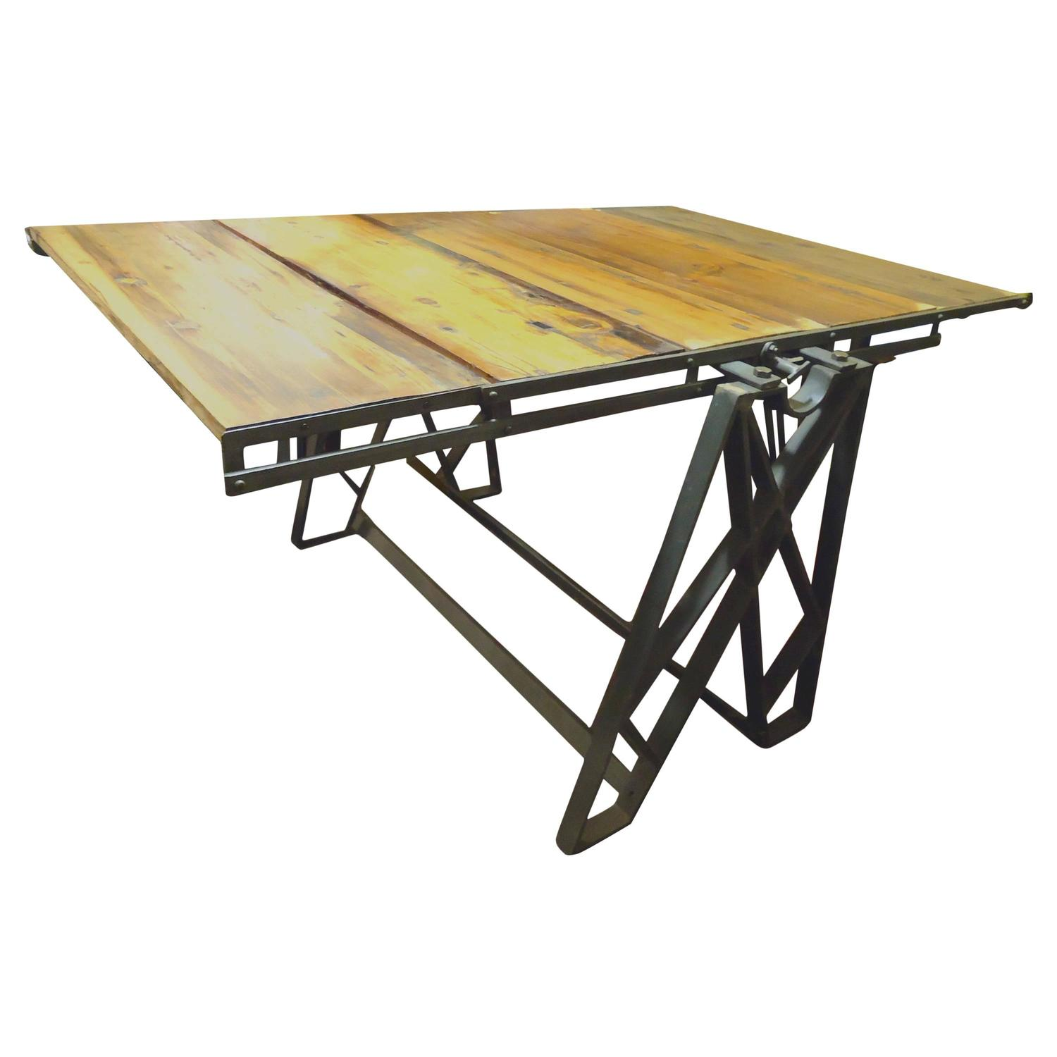 2 in 1 Industrial Bookcase Dining Table at 1stdibs