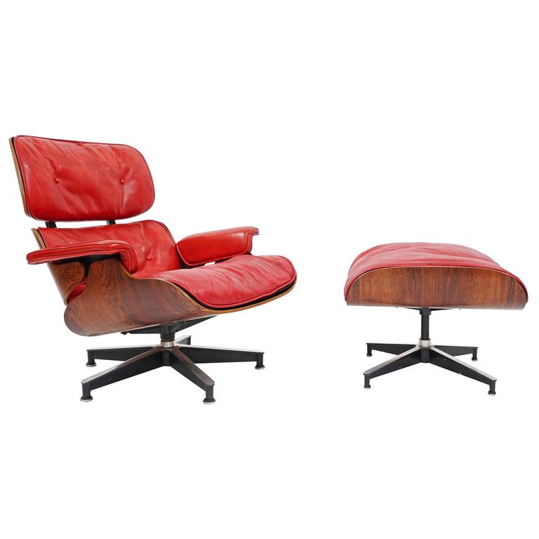 Rare Quot Pepsi Red Quot Eames Lounge Chair By Herman Miller For