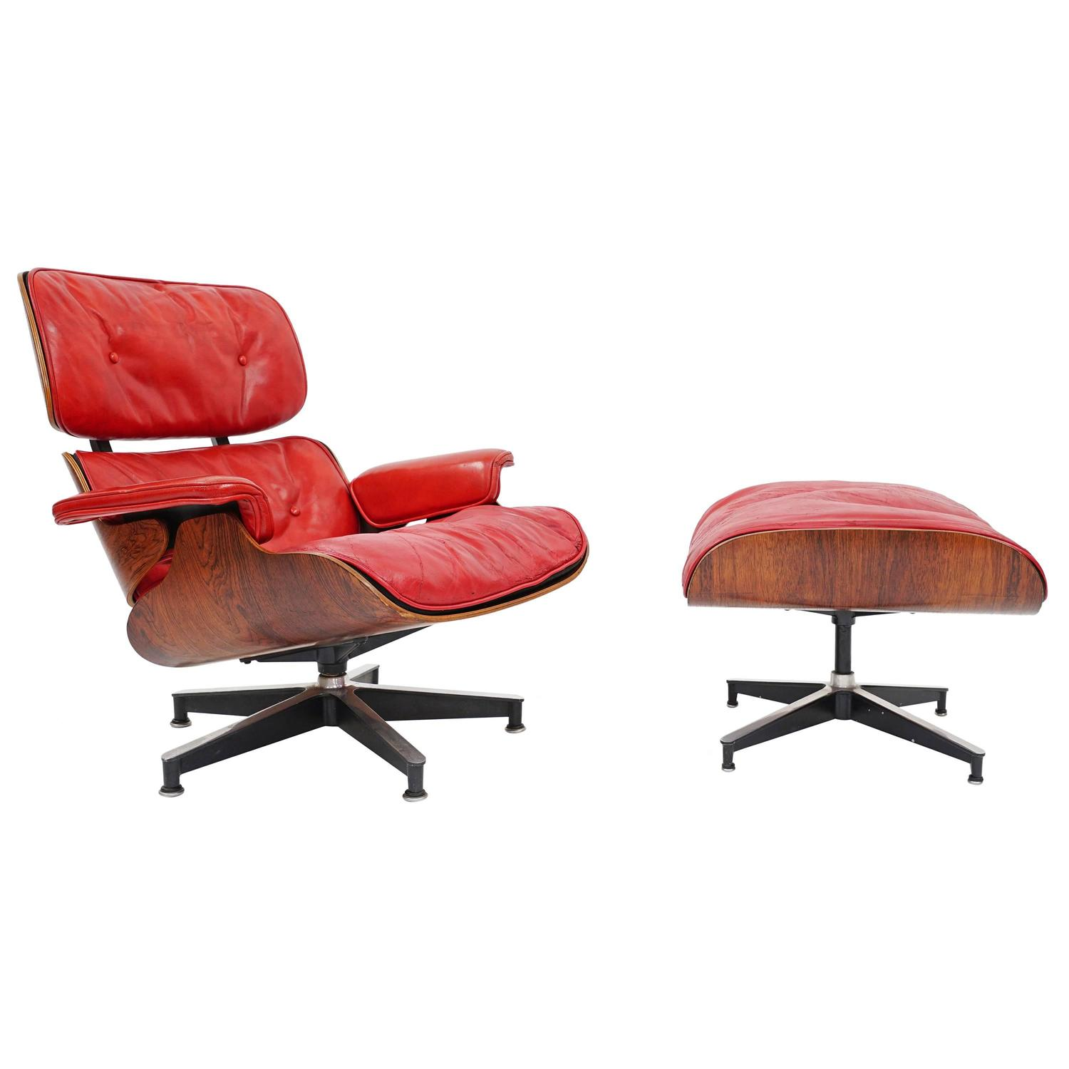"Rare ""Pepsi Red"" Eames Lounge Chair by Herman Miller for Pepsi Co"