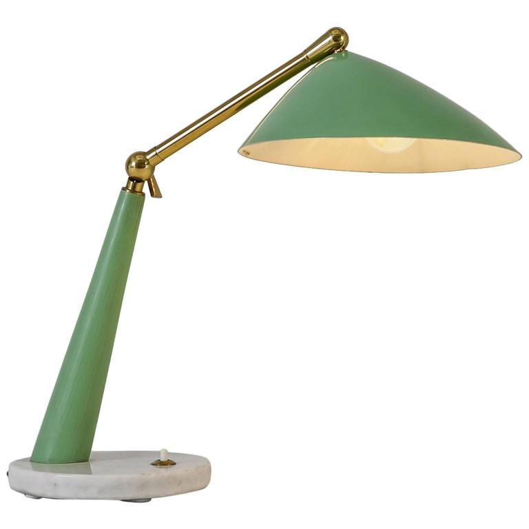 green stilux desk or table lamp on marble base italy 1950s for sale. Black Bedroom Furniture Sets. Home Design Ideas