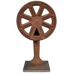 Vintage Industrial Decorative Iron Wheel Sculpture
