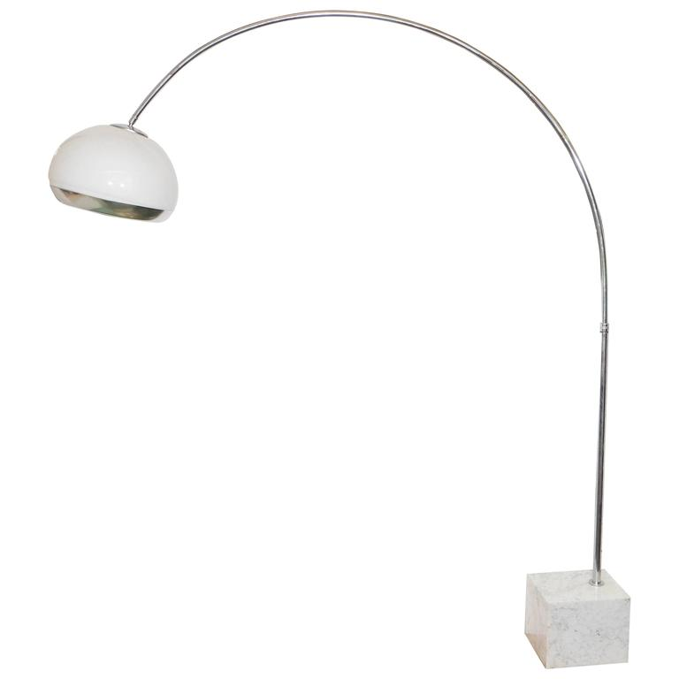 Harvey Guzzini Chrome Arc Lamp With White Acrylic Shade On Carrara Marble Base