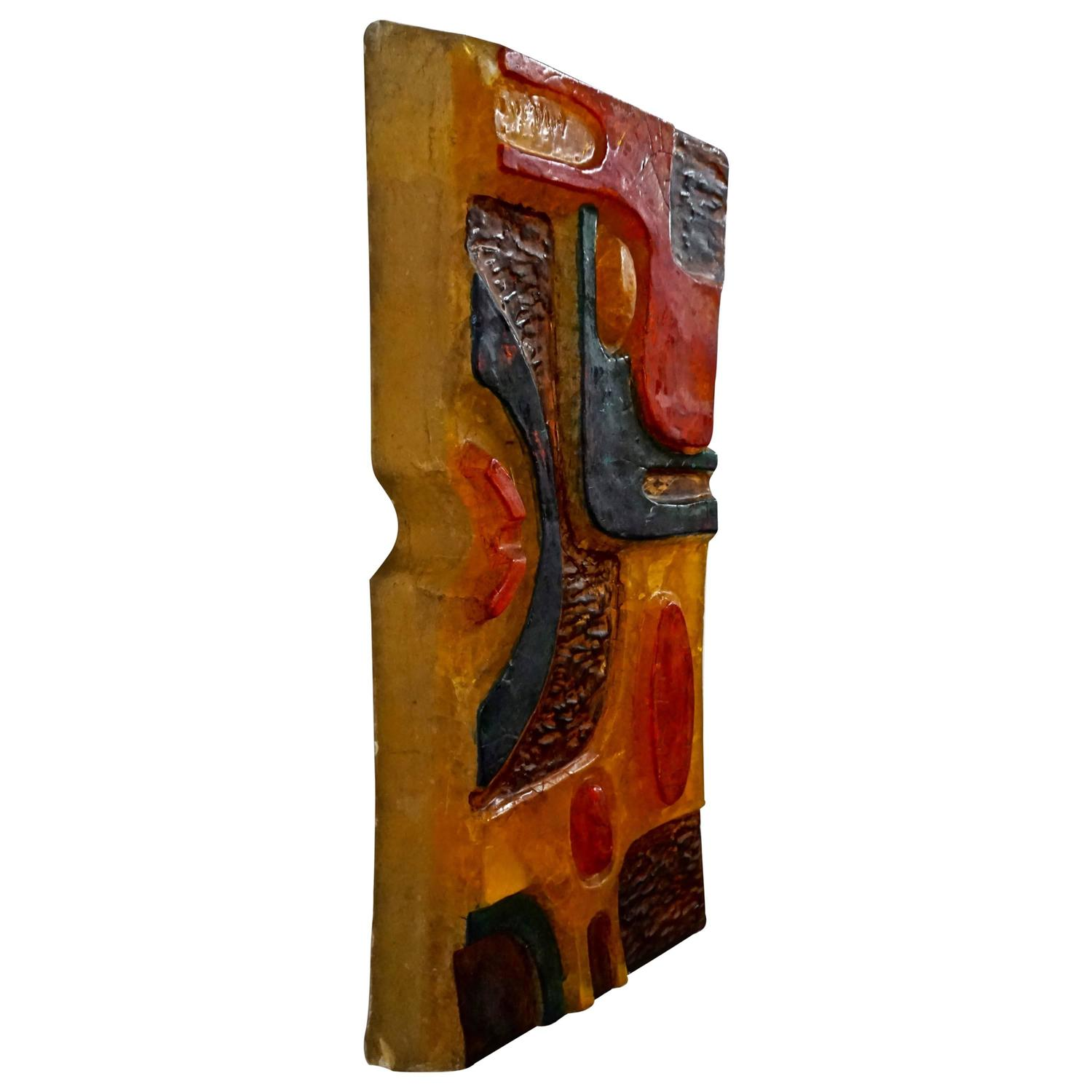 Abstract resin wall sculpture at 1stdibs for Resin wall art