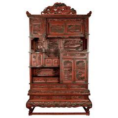 Grand Scale 19th Century Cinnabar Cabinet