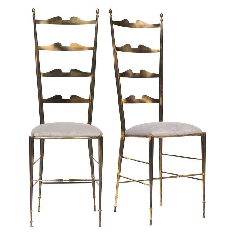 Rare Vintage Pair of Brass Chiavari Chairs at 1stdibs