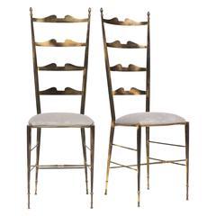 Rare Vintage Pair of Brass Chiavari Chairs
