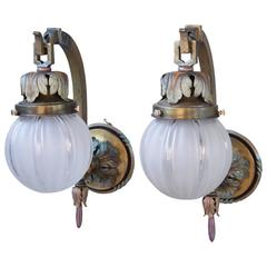 Pair of Outstanding Polychrome 1920s Sconces