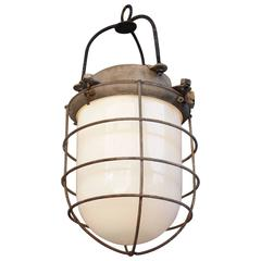 Vintage Industrial Pendant Light with Glass Globe