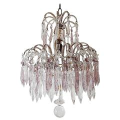 Italian Micro-Beaded Purple Lavender Crystal Prisms Chandelier