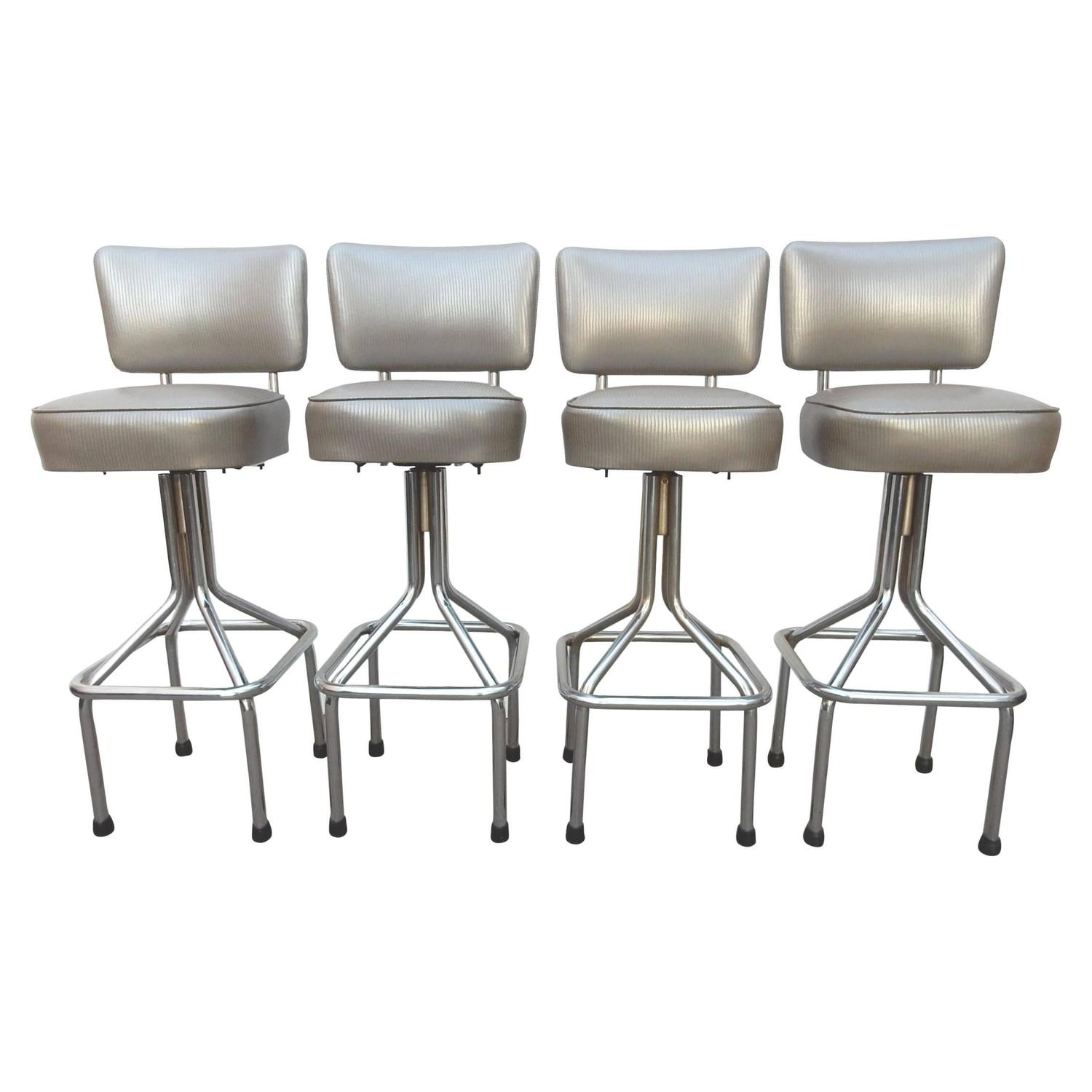 Mid Century Modern 1950s Chrome Tall Swivel Bar Stools In