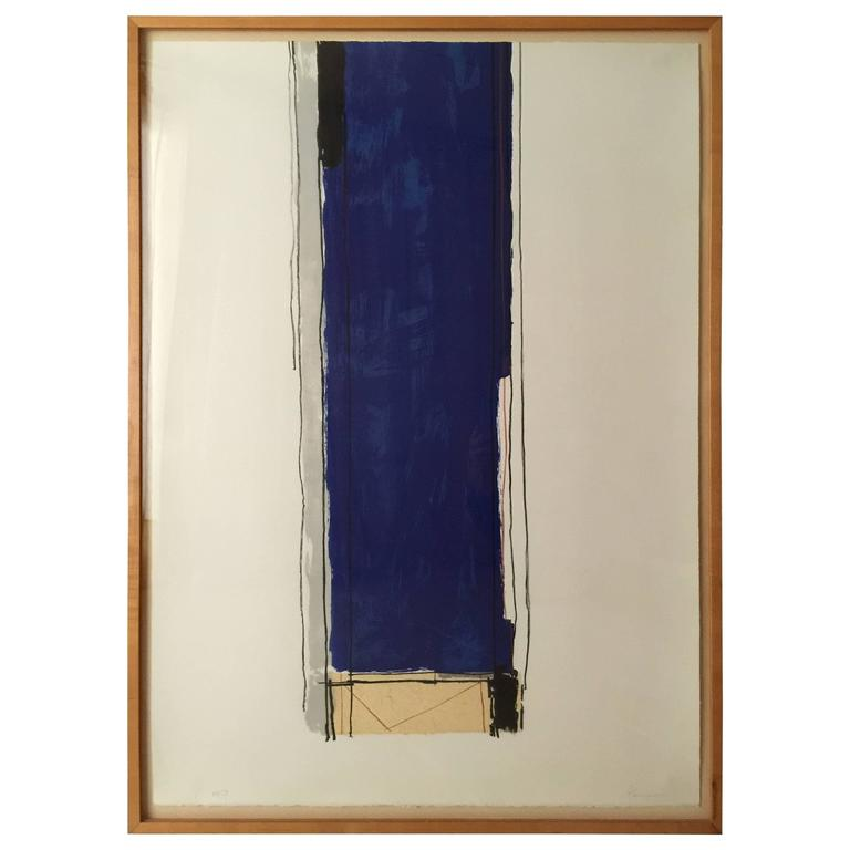 """""""Flag Blue"""" by Gary Passanise Lithograph and Collage"""