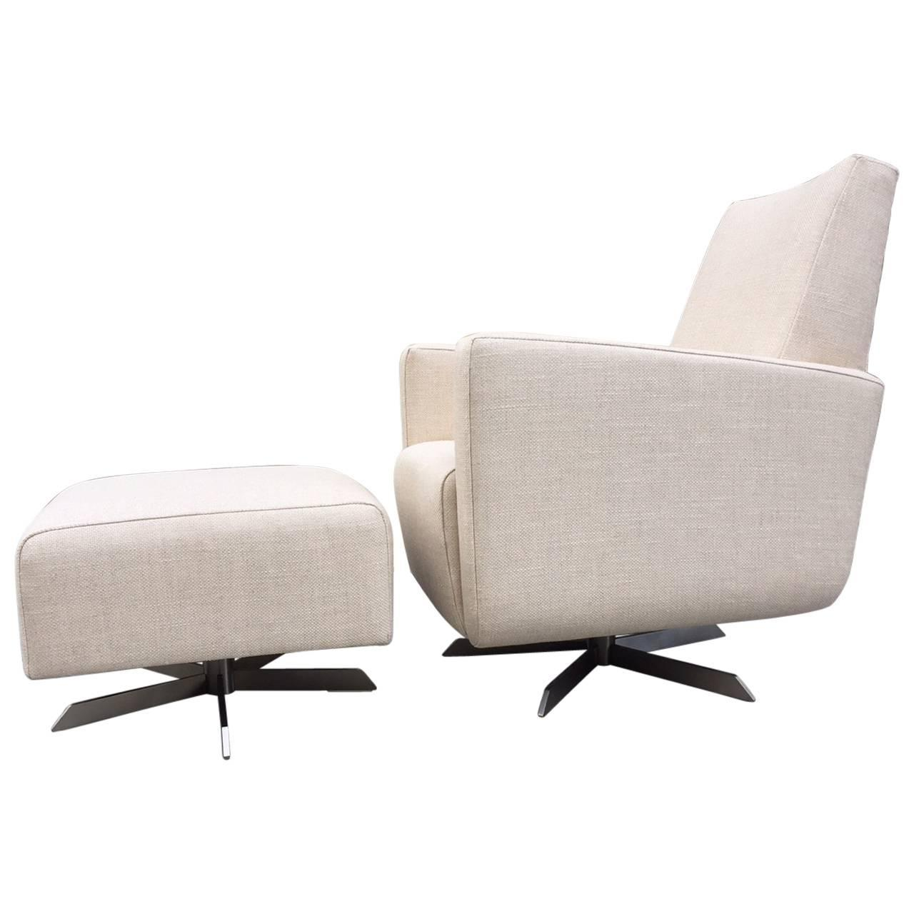 mid century modern lounge chair and matching ottoman at 1stdibs