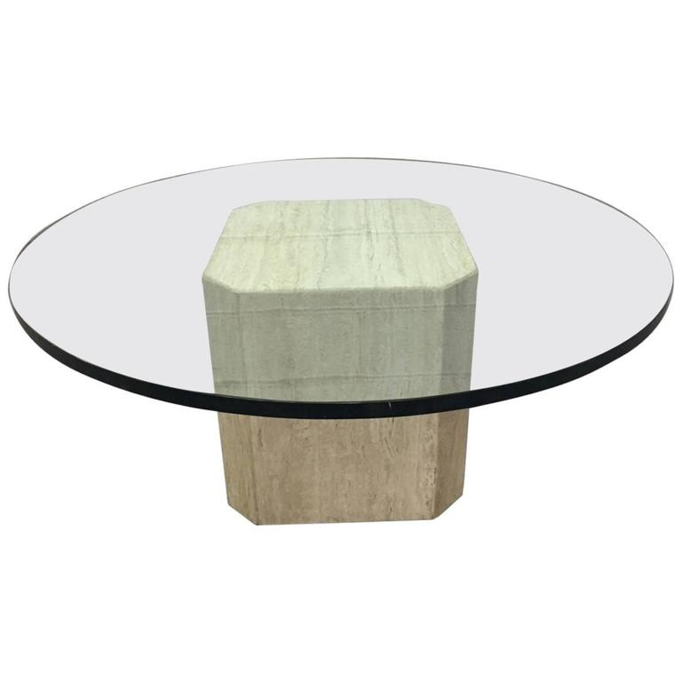 Italian Travertine and Glass-Top Coffee Table