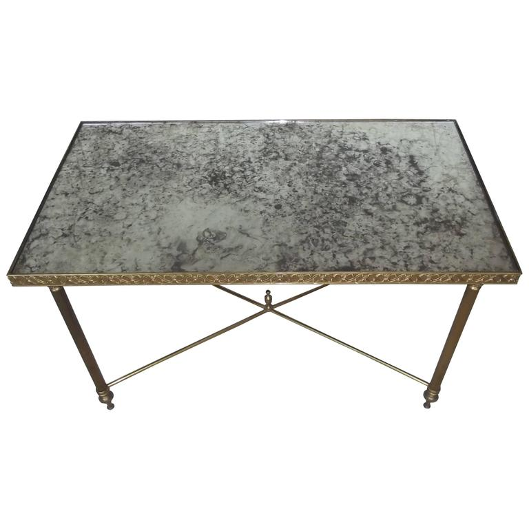 French Coffee Table With Distressed Mirror Top At 1stdibs
