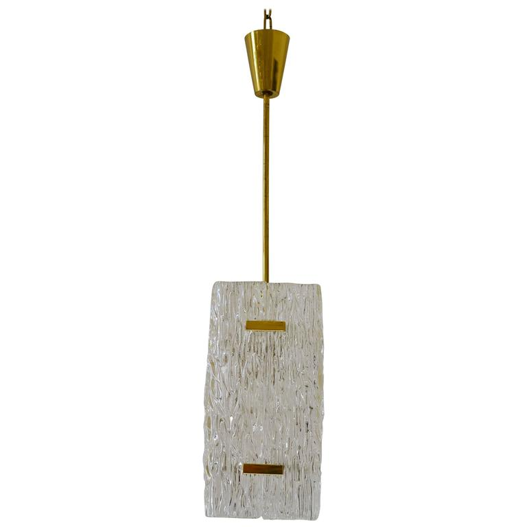 Textured Glass and Brass Pendants by J.T. Kalmar
