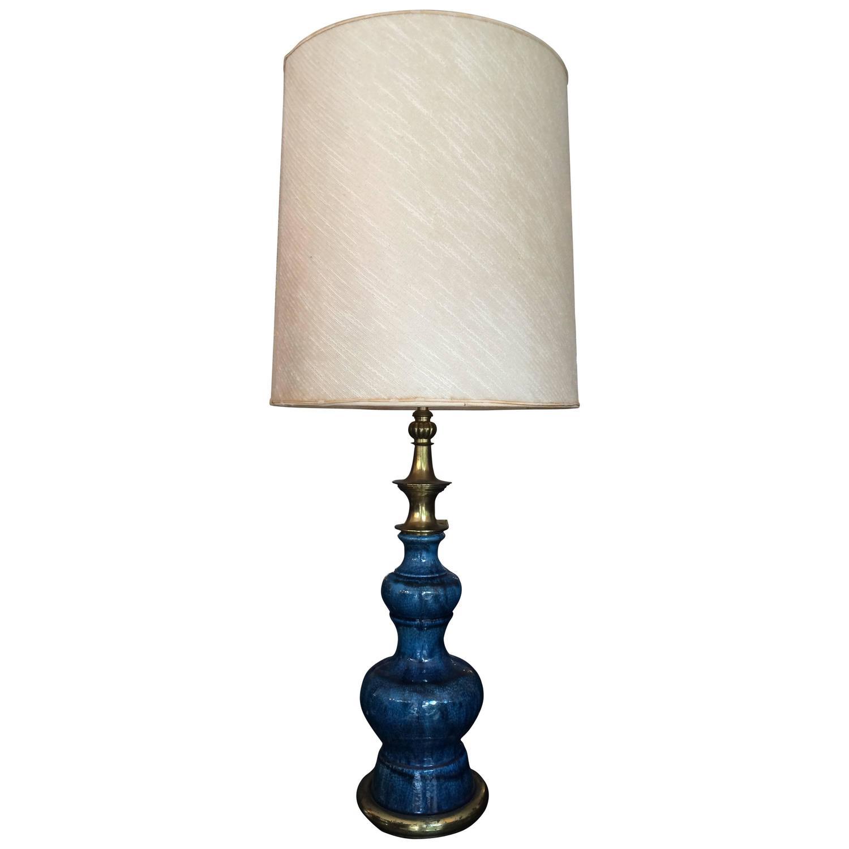 stiffel blue ceramic glazed table lamp for sale at 1stdibs. Black Bedroom Furniture Sets. Home Design Ideas