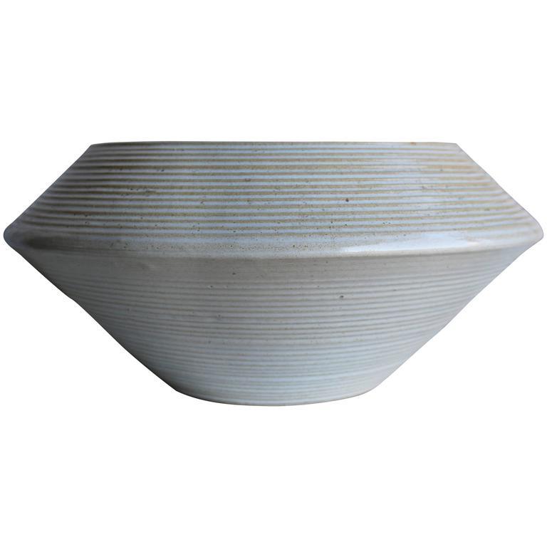 large zanesville homespun american stoneage ceramic planter 1