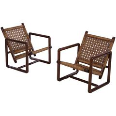 Pair of French Woven Rush Lounge Chairs, 1960