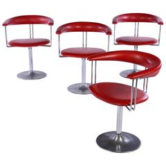 Set of Four Italian Chrome Swivel Chairs
