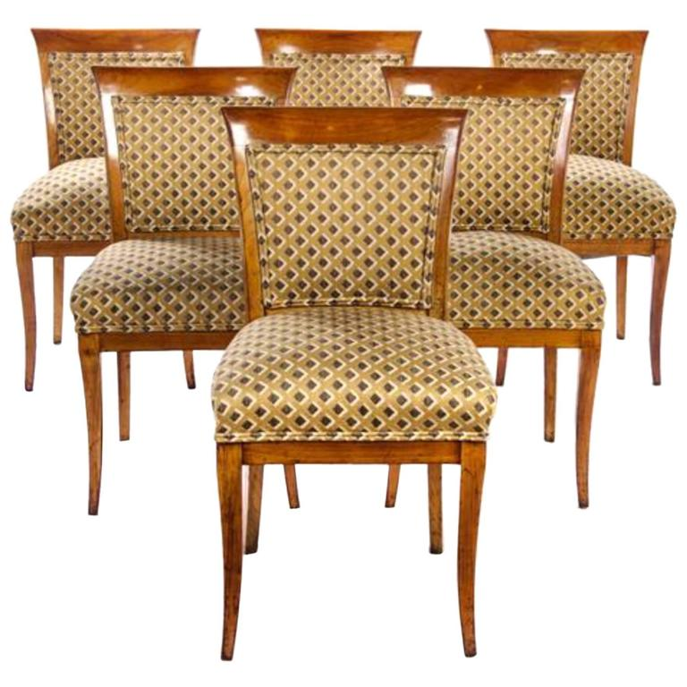 Dining Benches For Sale: Set Of Six Biedermeier Fruitwood Dining Chairs For Sale At