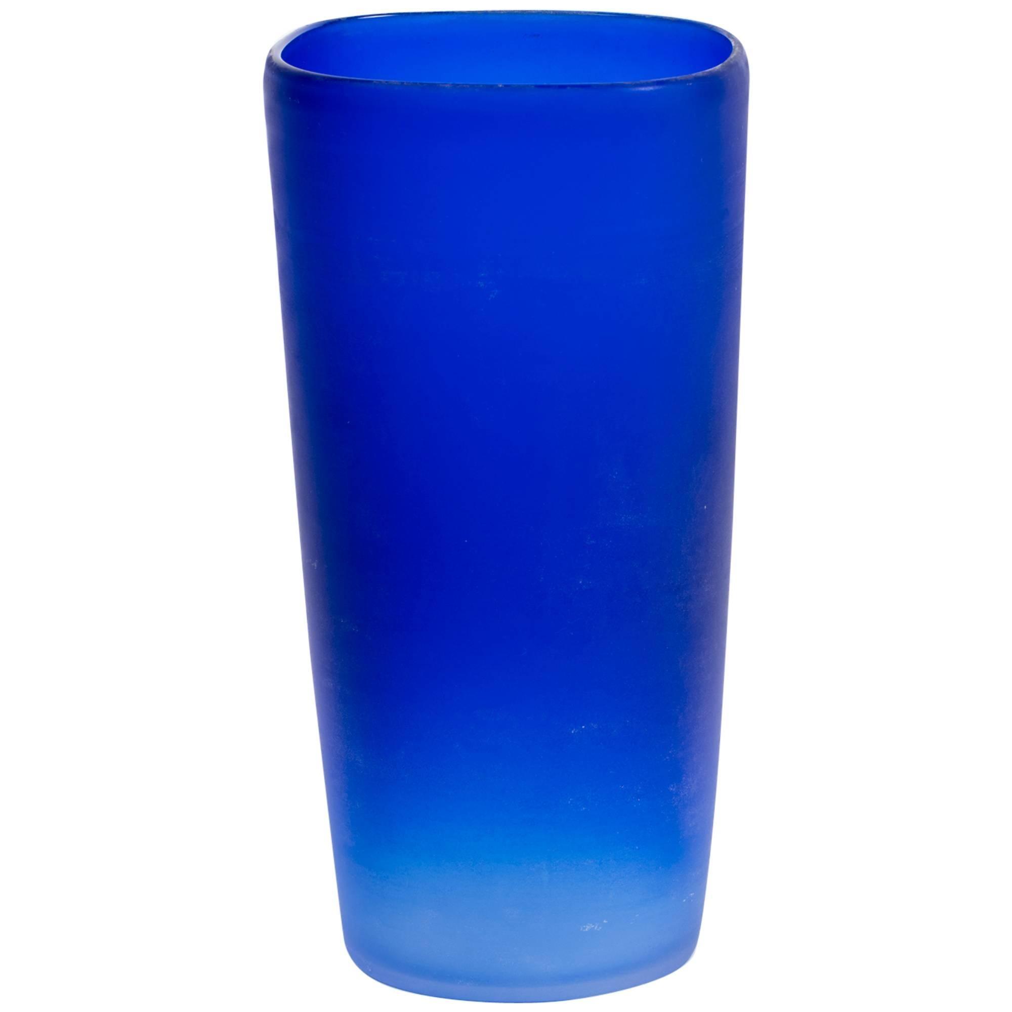 Cenedese Cobalt Blue Italian Glass Vase