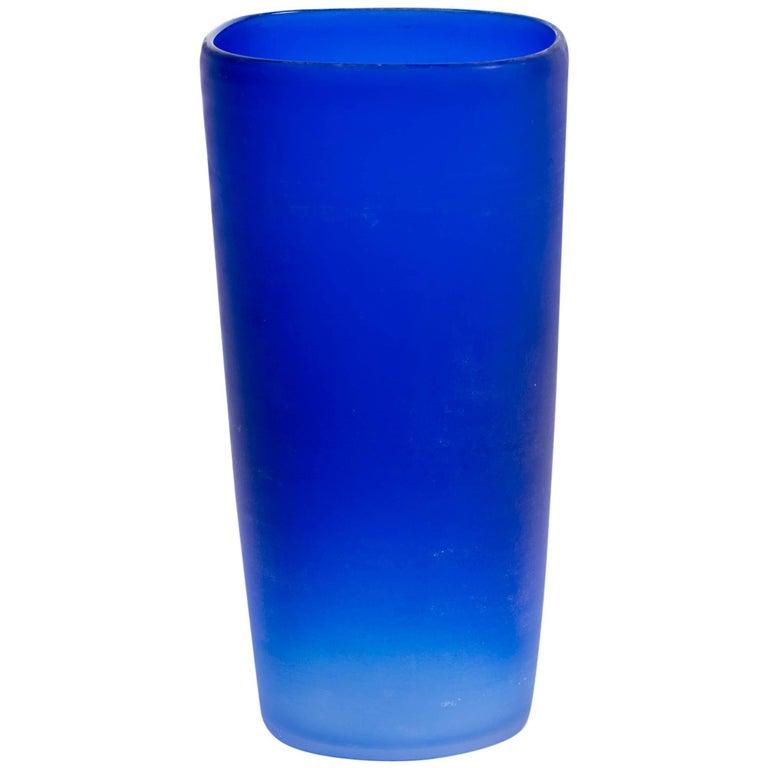 Cenedese Cobalt Blue Italian Glass Vase For Sale