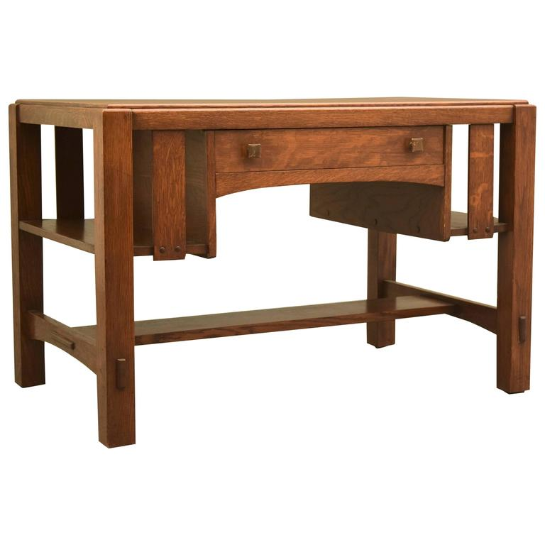 Charles limbert arts and crafts library table desk circa for Crafting desks for sale