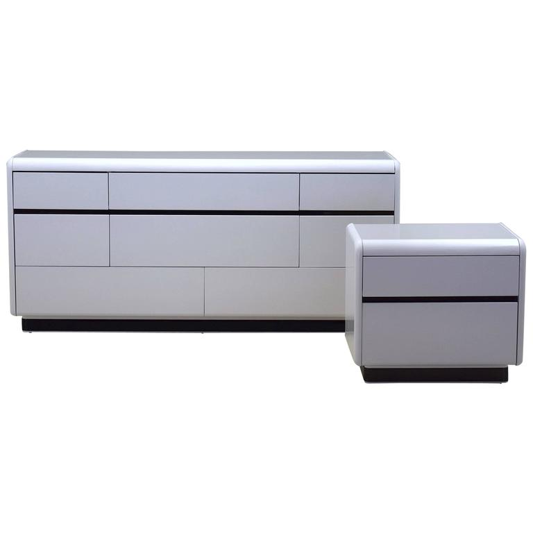 Modern White Lacquered Dresser And Nightstand By Lane At