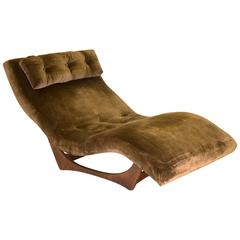 Adrian Pearsall Wave Chaise Longue Chair with Walnut Sculptured Base