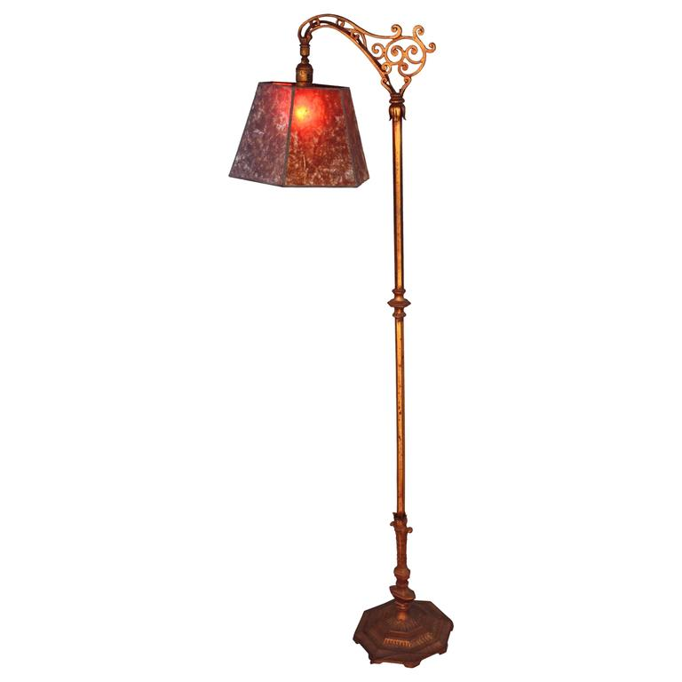 1920s Floor Lamp with New Mica Shade