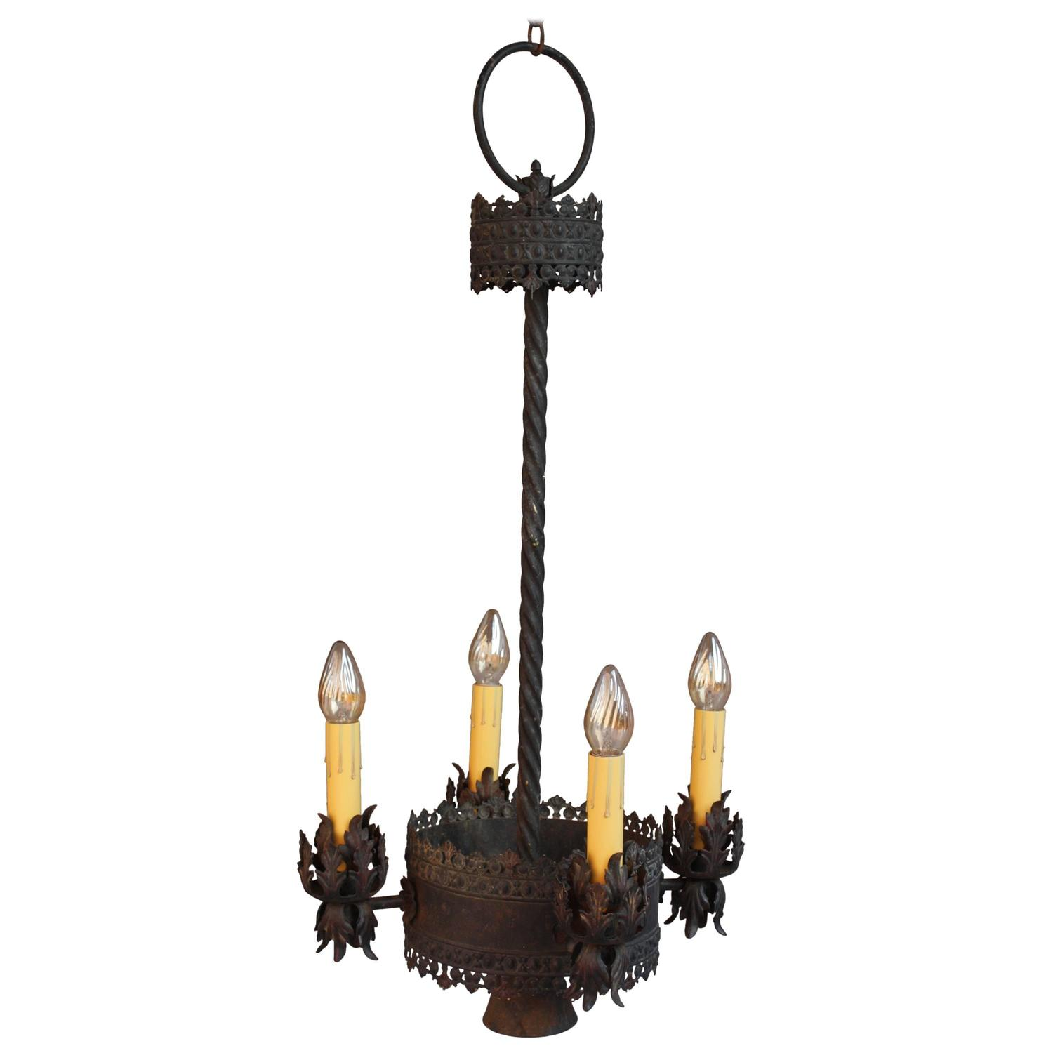 1920s Rare Spanish Revival Chandelier With Five Lights At
