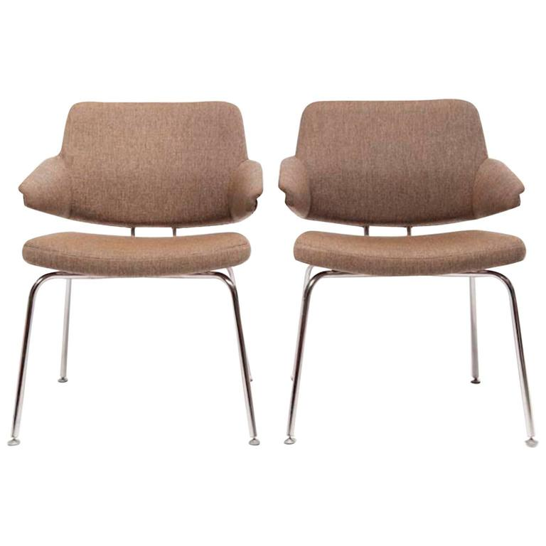 Vintage Mid Century Modern Occasional Arm Chairs Set Of