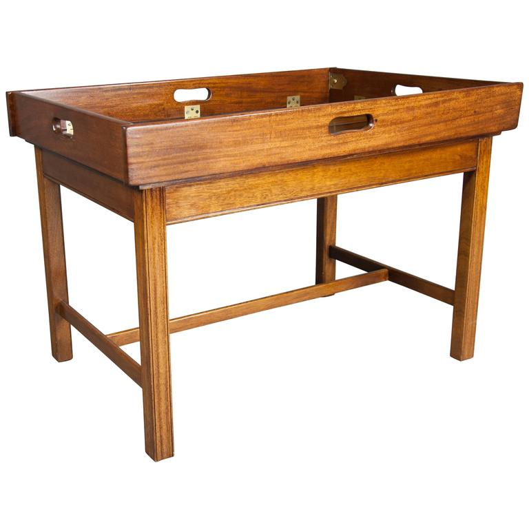 Victorian mahogany campaign style butlers tray coffee table at 1stdibs Butler coffee tables