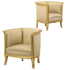 Pair of Art Nouveau Period Carved Giltwood Club Lounge Arm Chairs