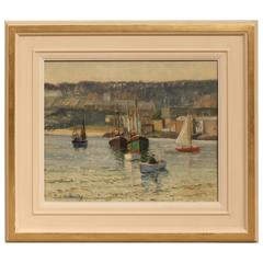 """""""The Harbour, St.Ives"""" Oil Painting by Frederick Bottomley"""