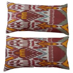 Pair of Colorful Ikat Pillows