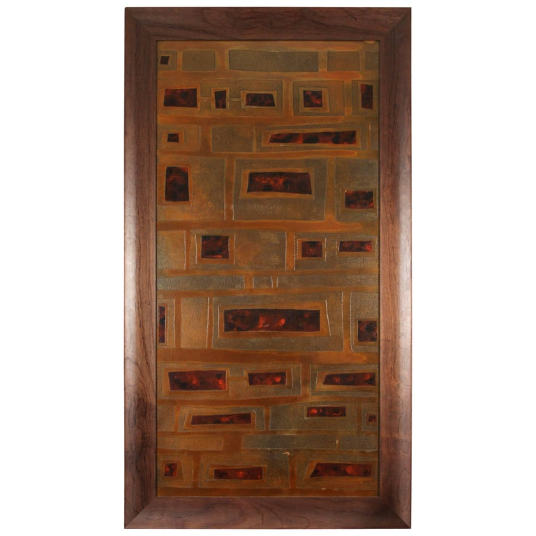 Mid-Century French Brass and Enamel Panel For Sale
