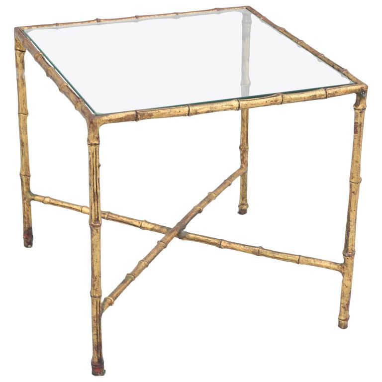 Gilded Iron Faux Bamboo Accent Table For Sale