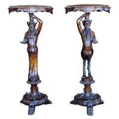Pair of Venetian 19th Century Carved Pedestal Tables Devil and His Consort