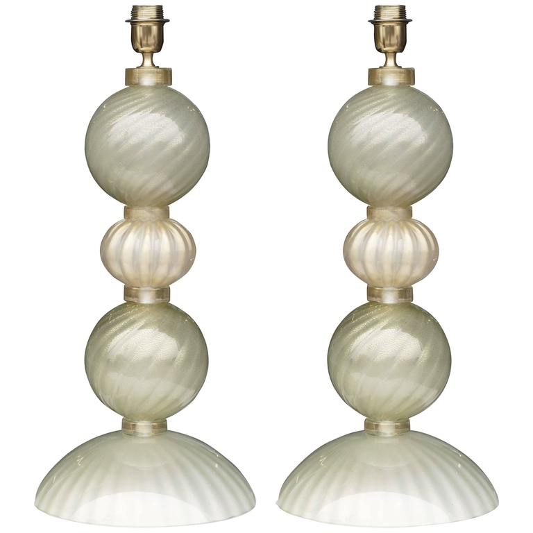Large Pearlescent Murano Glass Lamps by Alberto Dona