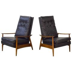 Pair of Milo Baughman Recliner Lounge Chairs