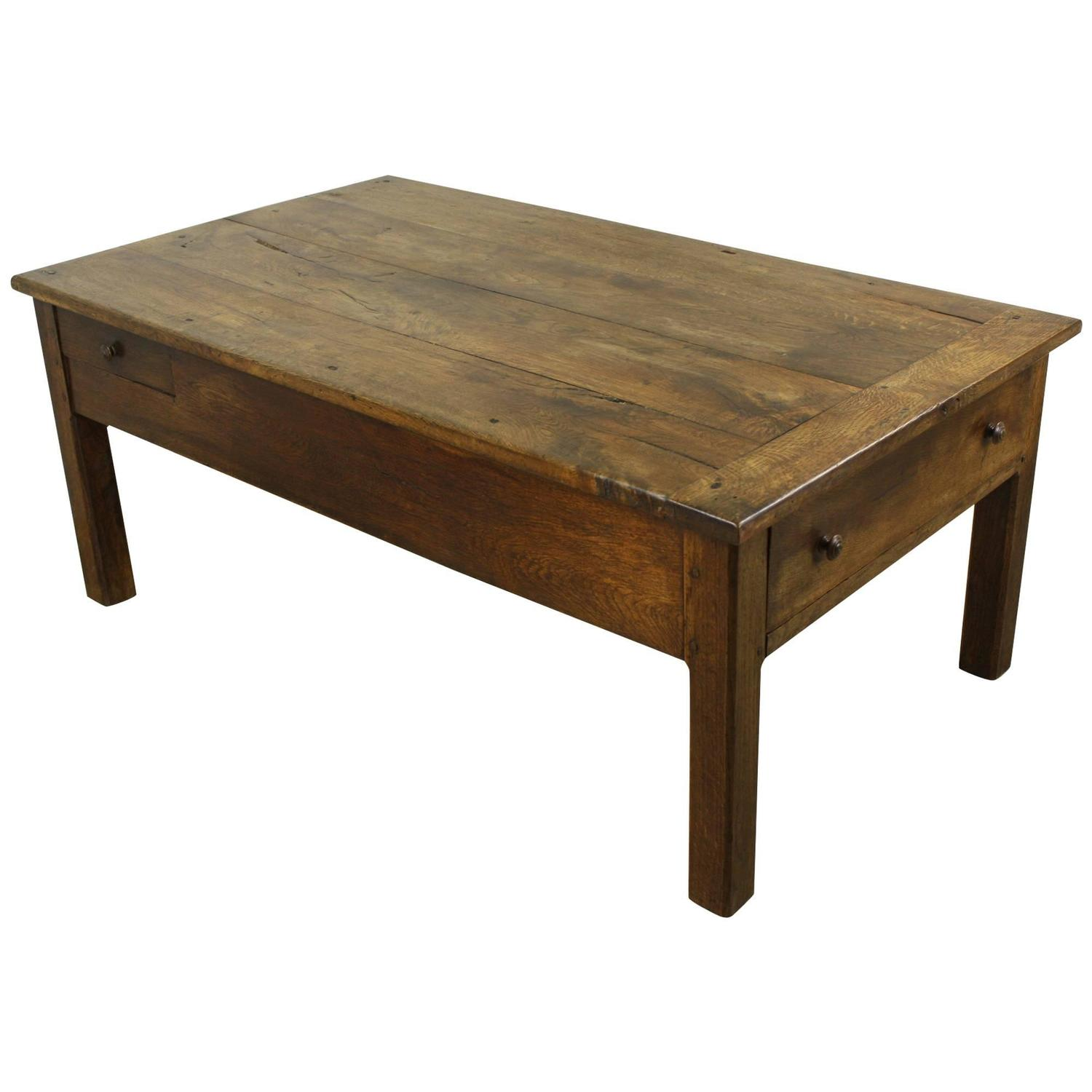 Antique french oak country coffee table two drawers at 1stdibs Coffee table antique