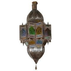 Moroccan Moorish Metal Filigree and Glass Pendant in Star Shape