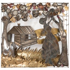 Mixed Metal Wall Sculpture of a Rural Scene in the Style of Curtis Jere