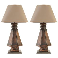 Pair of Wood Lamps, Billiard Table Legs, with Custom Linen Shade