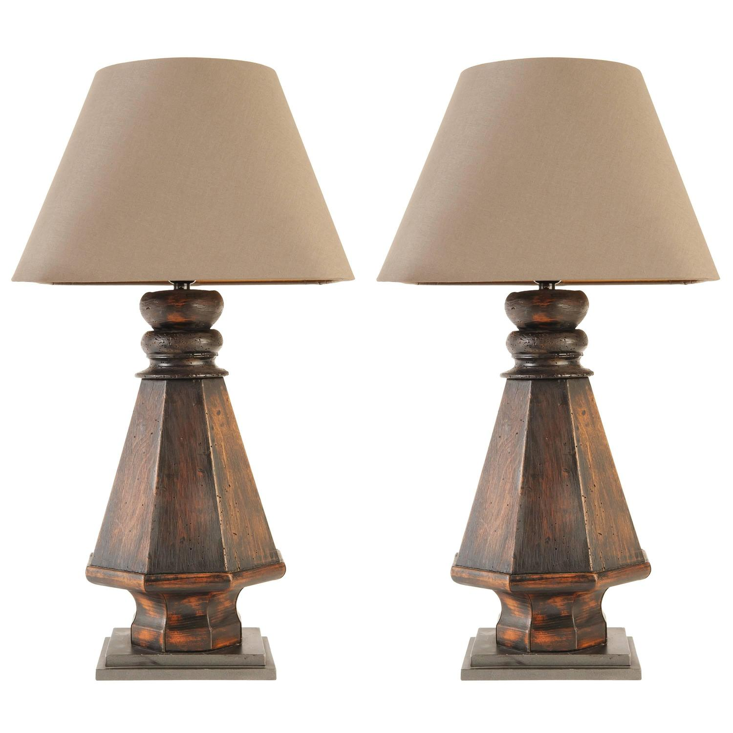 pair of wood base lamps with linen shade for sale at 1stdibs. Black Bedroom Furniture Sets. Home Design Ideas