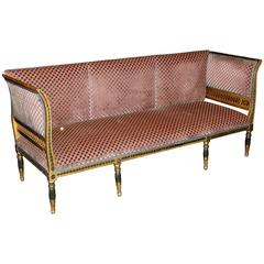 Gustavian Period Neoclassical Giltwood and Polychrome Sofa, circa 1800, Sweden