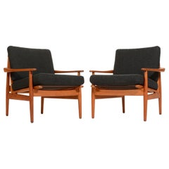 Pair of Danish Modern Greta Jalk Style Teak Lounge Chairs