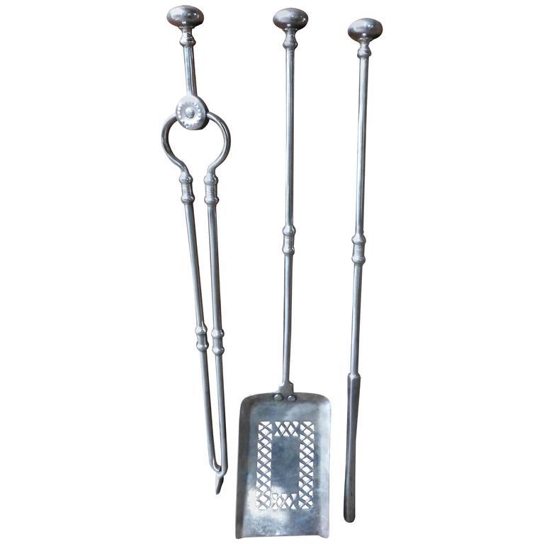 18th-19th Century George III Polished Steel Fire Tool Set, Firetools